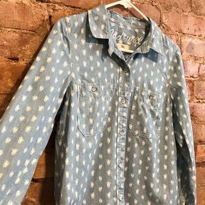 Madewell Chambray Floral Print Shirt Size Small